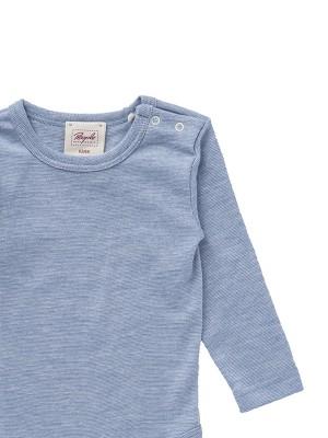 Bluză azurie cu lână, mătase și bumbac organic