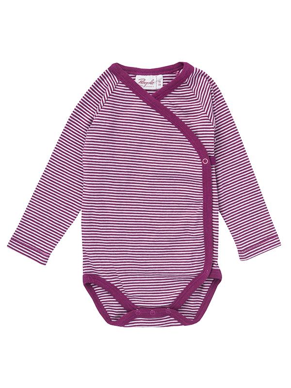 Body-kimono, cu mânecă lungă, în dungi roz închis