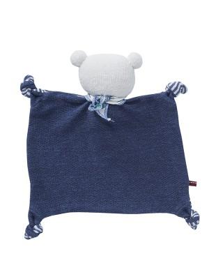 Jucărie pentru bebeluși din bumbac organic, ursuleț albastru