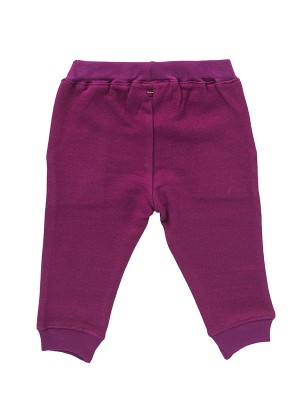Pantaloni de trening pufoși, roz închis, din bumbac organic
