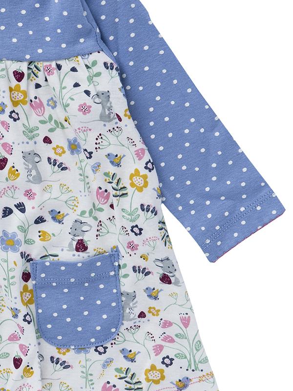 Rochiță bleu, cu buline și buzunare, din bumbac organic