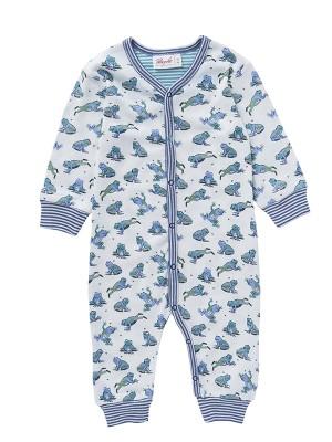 Salopetă-pijama de primăvară, cu broscuțe săltărețe