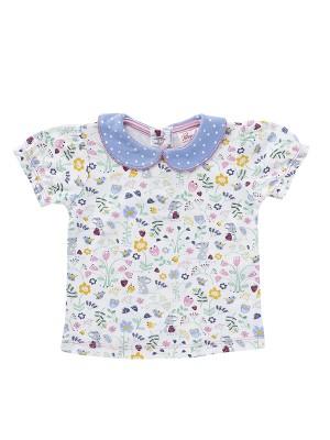 Tricou cu guleraș și floricele multicolore,  din bumbac organic