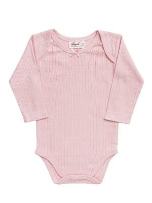 Body mânecă lungă roz, cu model pointelle