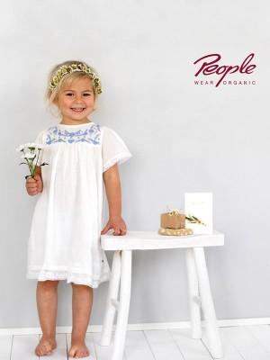Rochiță albă, pentru zile de sărbatoare, din bumbac organic