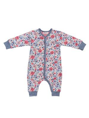 Salopetă-pijama, cu model câmp de flori