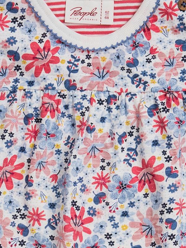 Rochiță mânecă scurtă, din bumbac organic, cu model câmp de flori