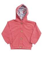 Jachetă lejeră roșie, cu glugă,  din bumbac organic