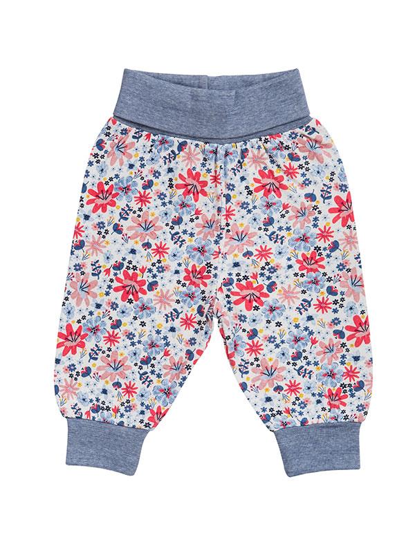 Pantaloni comozi, din bumbac organic, cu model câmp de flori