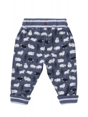 Pantaloni reversibili, cu model oițe, din bumbac organic