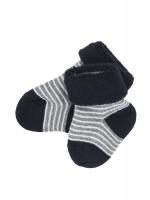 Șosete groase bebeluși, gri/negru, din bumbac organic
