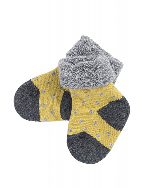 Șosete groase bebeluși, galbene, din bumbac organic