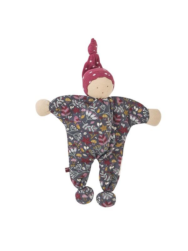 Jucărie-omuleț cu căciuliță roșie, din bumbac organic