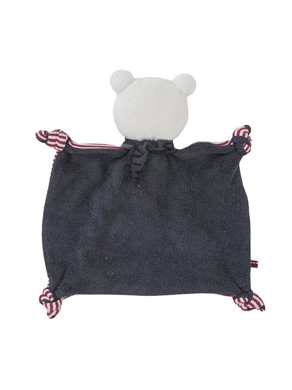 Jucărie pentru bebeluși din bumbac organic, ursuleț cu eșarfă roșie