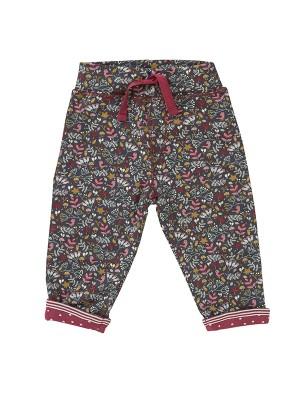 Pantalonii Scufiței, reversibili, cu floricile și buline, din bumbac organic