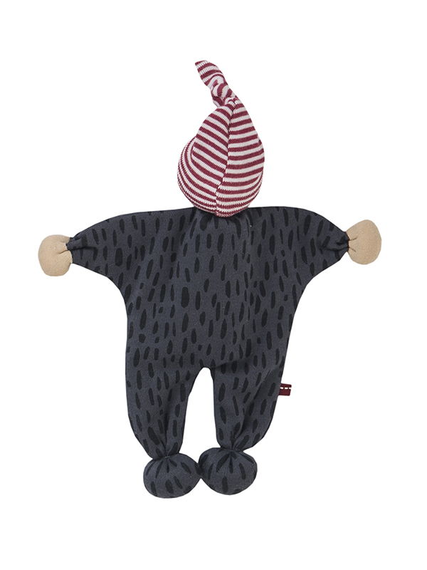 Jucărie-omuleț gri, din bumbac organic