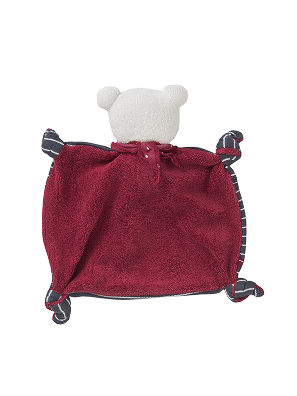 Jucărie pentru bebeluși din bumbac organic, ursuleț cu eșarfă gri