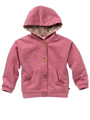 Jachetă sweat de toamnă, roz, din bumbac organic