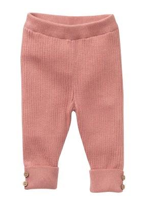 Pantaloni împletiți roz, din bumbac organic