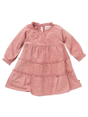 Rochiță de toamnă, roz, din bumbac organic