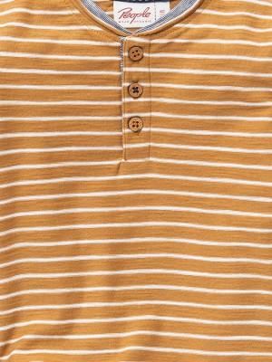 Bluză Henley, cu dungi muștar, din bumbac organic
