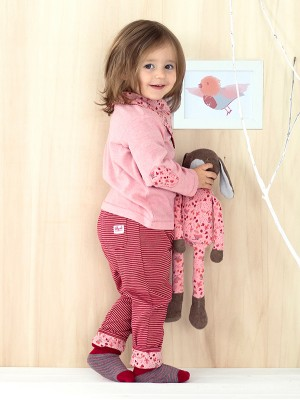 Pantaloni reversibili roșii, cu model, din bumbac organic