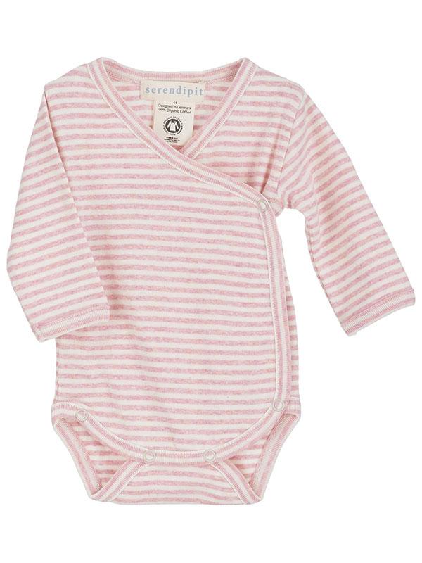 Body bebeluși, în dungi, roz, din bumbac organic