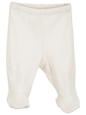 Pantaloni prematuri, albi, cu model pointelle